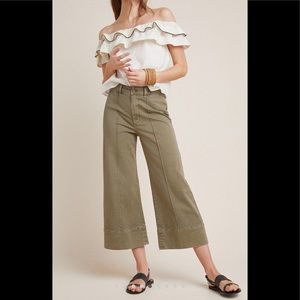 Anthropologie PINTUCKED CHINO in soft olive.
